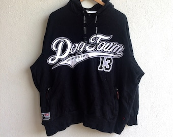 58ccd506c22 Vintage DOGTOWN STREETCOOLL GUYS Embroidery Hoodie Sweatshirt Black Colour  Extra Large Size