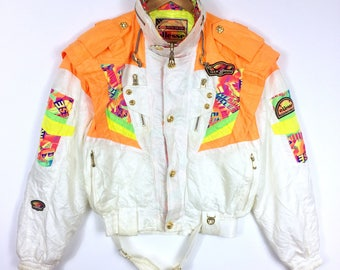d0c1ef9f05 ELLESSE vintage sci giacca ricamo classico colore bianco medie dimensioni