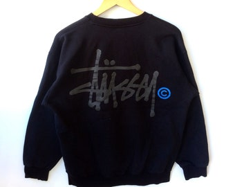 1e9099aa84be Vintage STUSSY BIG LOGO Made In Usa Crewneck Sweatshirt Black Colour Medium  Size