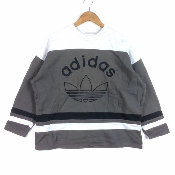 Vintage Adidas equipment jacket hooded windbreaker striped embroidered big logo Black Red Size L Excellent condition