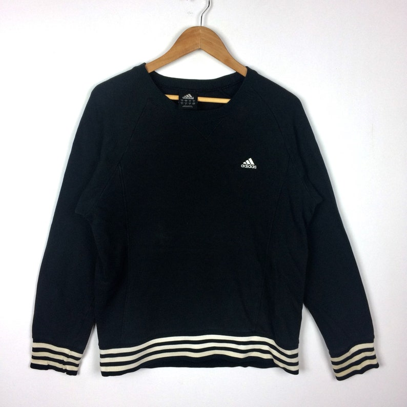 The Famous Brand ADIDAS 3 STRIPES Crewneck Sweatshirt Black Colour Medium Size