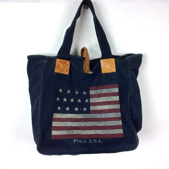 Rare Vintage POLO USA FLAG By Ralph Lauren Tote Bag One   Etsy baa5aa05d0