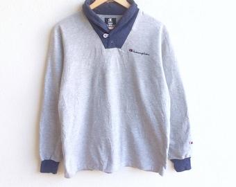Vintage 90's CHAMPION small logo sweatshirt gray colour medium size