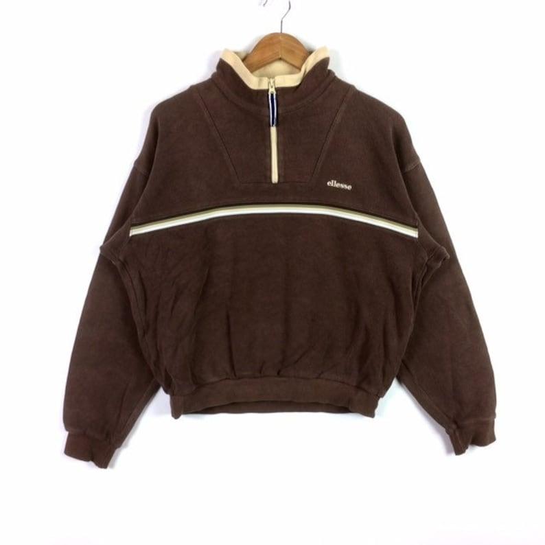 Rare!! Vintage ELLESSE PERUGIA ITALIA Small Logo Half Zipper Sweatshirt Brown Colour Large Size Women