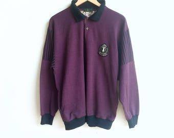 Rare! Vintage POLE BILL small logo sweatshirt purple colour large size