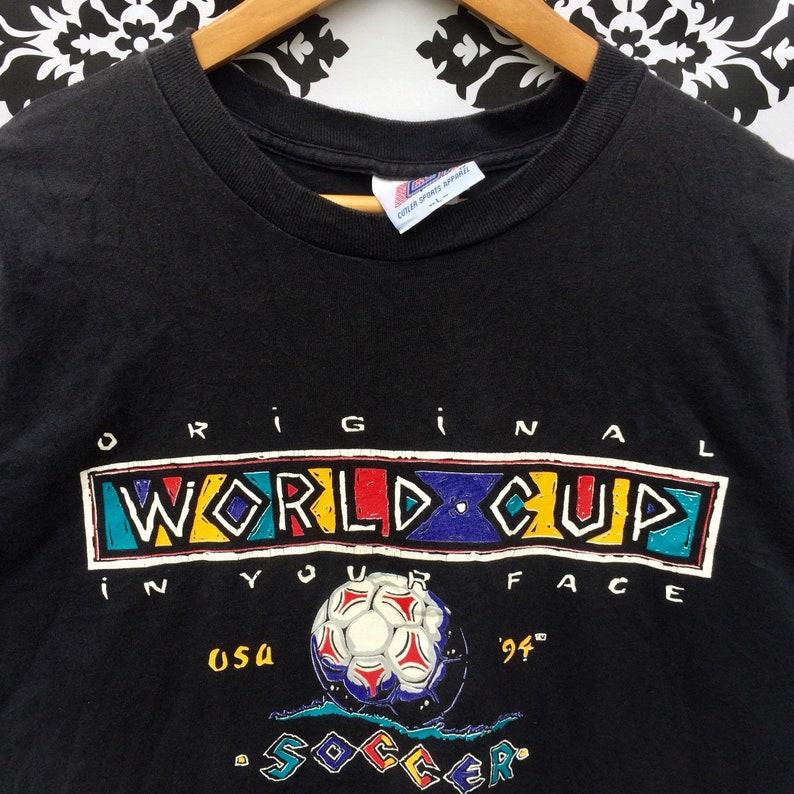 Vintage WORLD CUP USA 1994 Soccer T-Shirt Black Colour Large Size Rare!!
