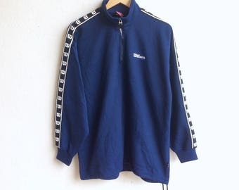 Vintage 90's WILSON small logo sweatshirt blue colour large size