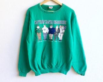 Captain Santa Club! The famous CAPTAIN SANTA WARDROBE big logo sweatshirt green colour large size