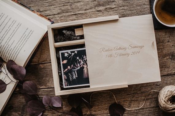 Photography box for 4x6 prints Yoga Vintage custom photo box with optional 3.0 USB flash drive