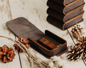 USB box with wooden engraved USB flash drive (optional) | Black USB packaging with laser-produced bended lid