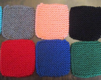Solid-Colored Hand-Knitted Coasters