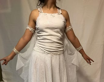 White Waltz Fox Trot Ballroom Dance Costume