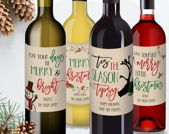 Black Holiday And Christmas Wine Bottle Labels Set Of 4