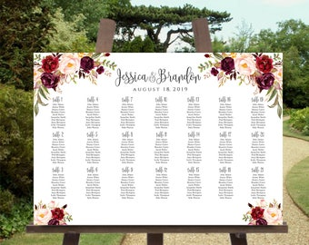 Printable Wedding Seating Chart Template Alphabetical 5 Sizes Etsy