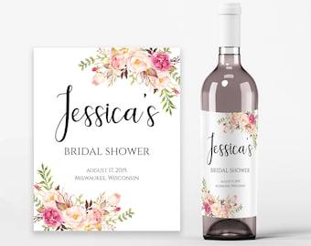 Bridal Shower Wine Labels Bridal Wine Printable Wine Label Template Wine Bottle Labels Bridal Wine Labels PDF Instant Download Pastel Blooms