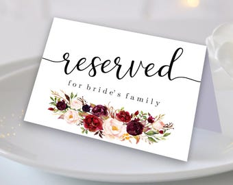 reserved table signs etsy