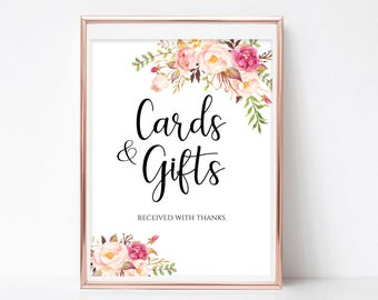 cards and gifts sign gift table sign cards and gifts printable wedding sign template reception sign instant download pdf 4x6 5x7 8x10