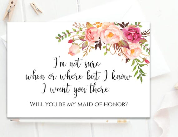 image relating to Will You Be My Maid of Honor Printable identified as Will Yourself Be My Maid of Honor Printable Maid of Honor Card Maid of Honor Proposal Card Printable Maid of Honor Prompt Down load Pastel Blooms