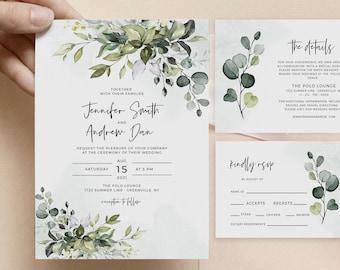Greenery Wedding Invitation Suite, Printable Wedding Invitation, Eucalyptus Invite, Instant Download, Edit with Templett, POE