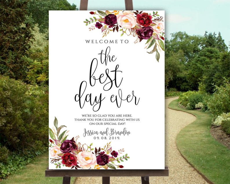 Personalized Welcome To Our Wedding Welcome Wedding Sign Printable Welcome Poster Party Board Wedding Days Sign Wedding Marsala Welcome Sign