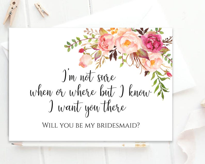 picture relating to Will You Be My Bridesmaid Printable named Will Your self Be My Bridesmaid Printable Bridesmaid Card Bridesmaid Proposal Card Bridesmaid Printable Bridesmaid Prompt Down load Pastel Blooms