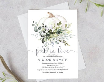 Fall Bridal Shower Invitation Template, White Pumpkin Fall In Love, Instant Download, Edit with Templett, POE