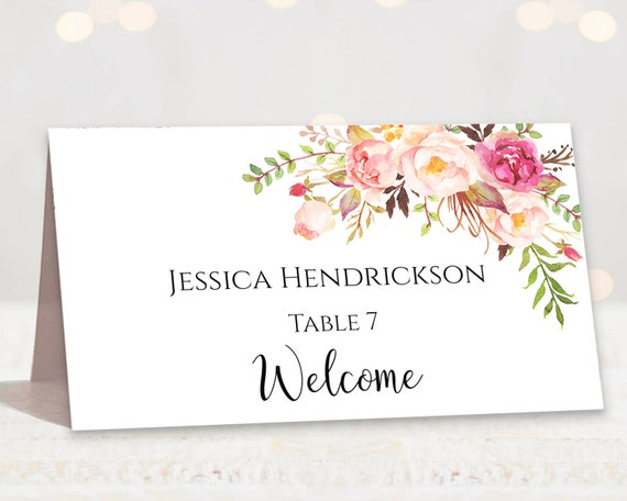 Wedding Place Cards Place Card Template Editable Reserved Etsy