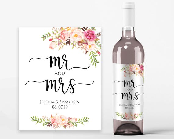 graphic about Printable Wine Bottle Label titled Marriage ceremony Wine Labels Wedding ceremony Wine Printable Wine Label Template Wine Bottle Labels PDF Instantaneous Obtain Mr and Mrs Wine Bottles Pastel Blooms