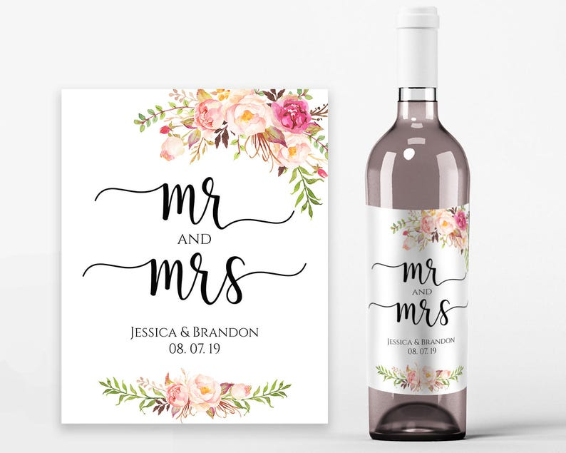 image regarding Printable Wine Labels identified as Marriage ceremony Wine Labels Wedding ceremony Wine Printable Wine Label Template Wine Bottle Labels PDF Prompt Obtain Mr and Mrs Wine Bottles Pastel Blooms