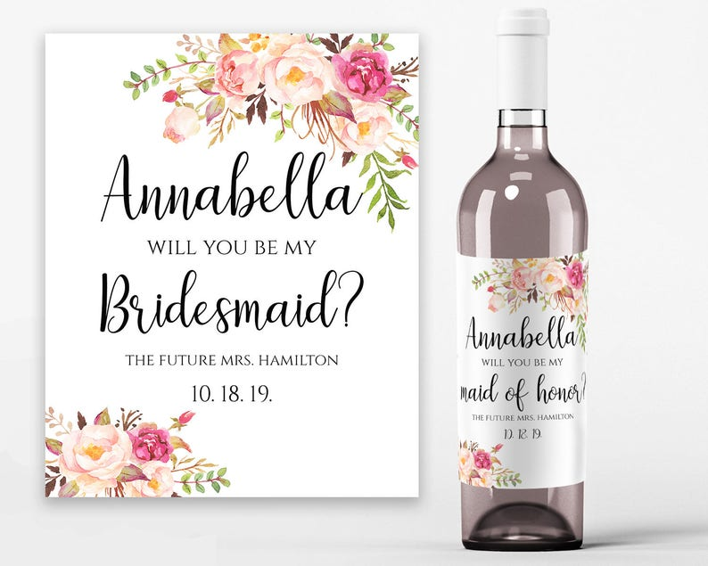 will you be my bridesmaid wine label template.html