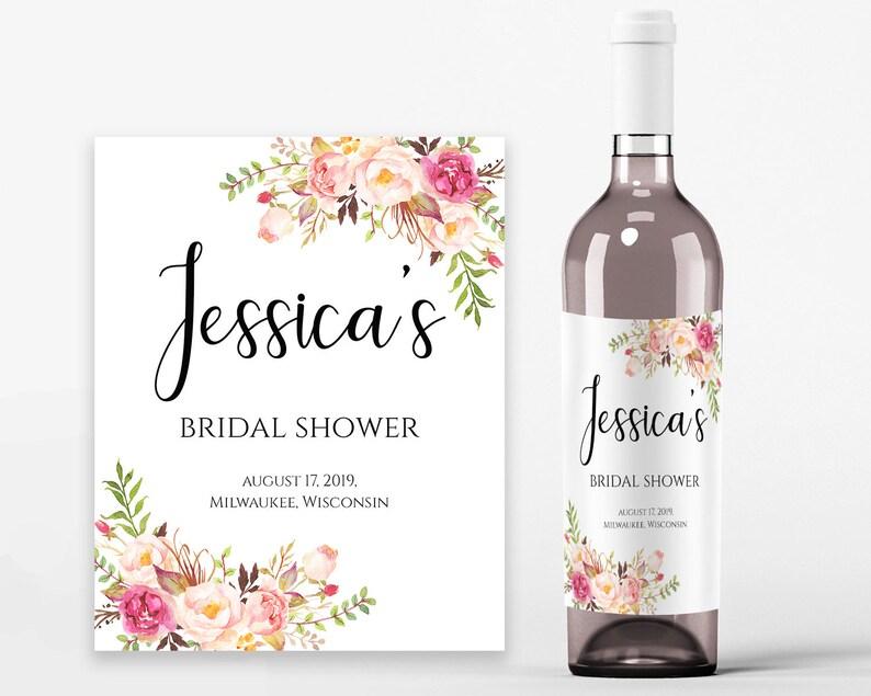 photograph regarding Printable Wine Bottle Labels titled Bridal Shower Wine Labels Bridal Wine Printable Wine Label Template Wine Bottle Labels Bridal Wine Labels PDF Fast Obtain Pastel Blooms