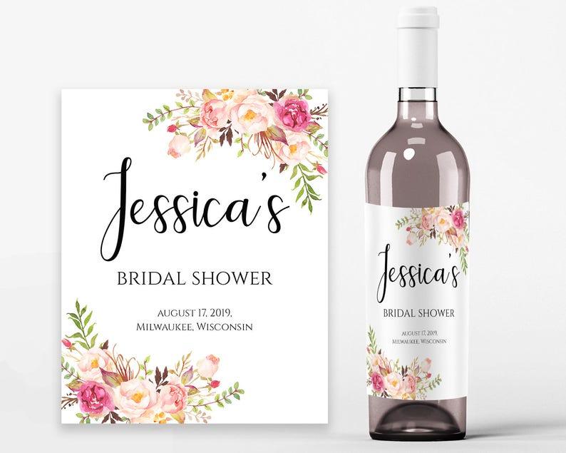 graphic regarding Printable Wine Bottle Labels called Bridal Shower Wine Labels Bridal Wine Printable Wine Label Template Wine Bottle Labels Bridal Wine Labels PDF Quick Obtain Pastel Blooms