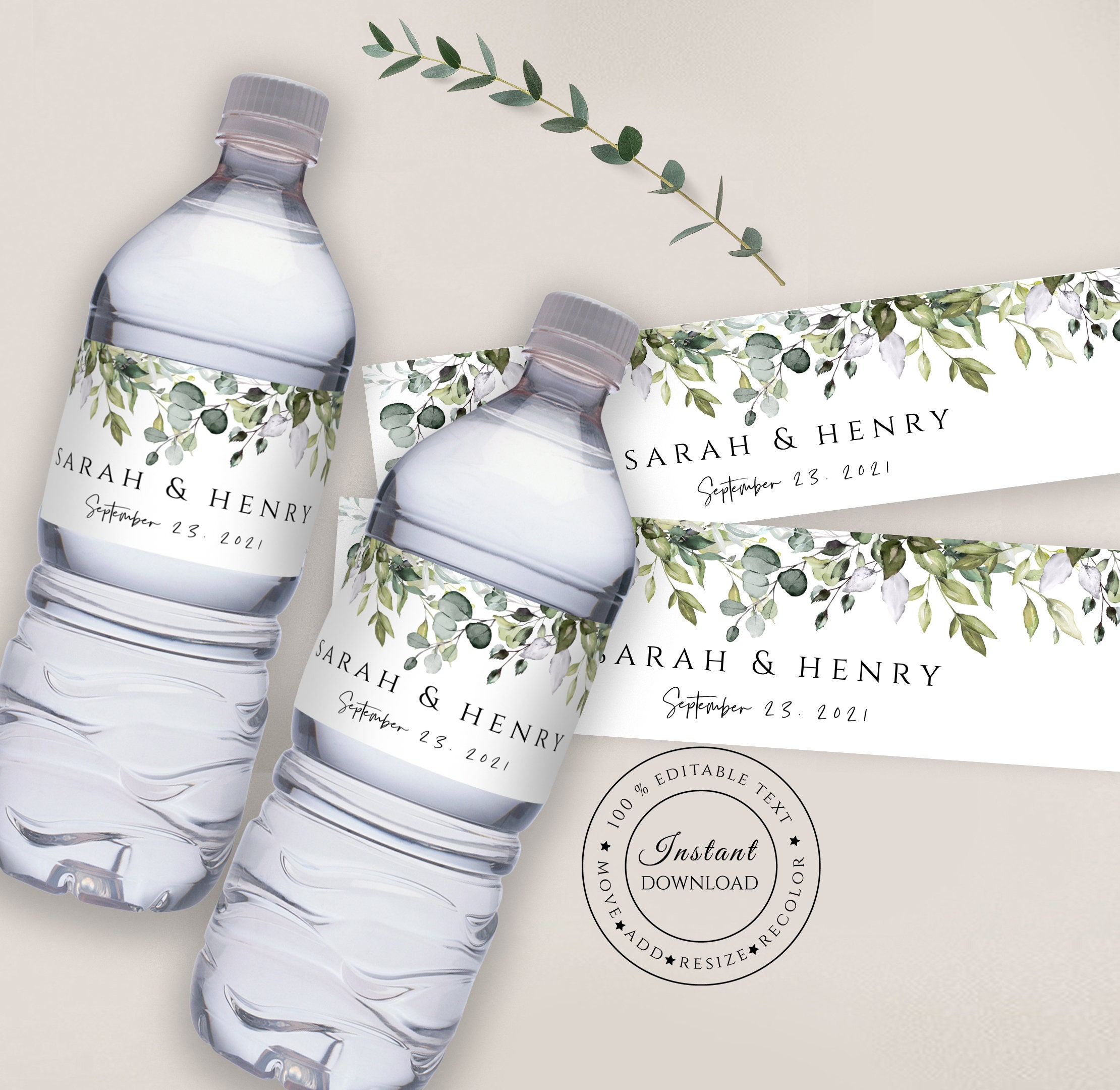 Greenery Wedding Water Bottle Labels Eucalyptus Wedding Water Etsy