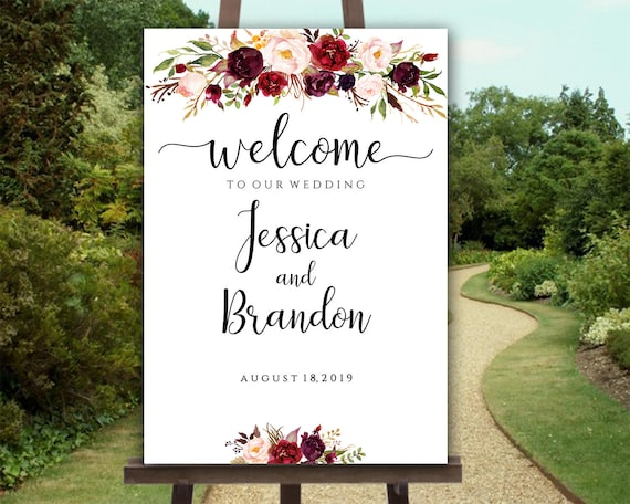 Printable Welcome To Our Wedding Editable Wedding Signs Welcome Wedding  Sign Template Welcome Sign Wedding Printable Sign Instant Download