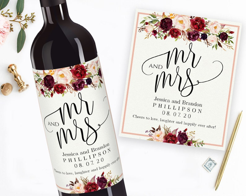 graphic relating to Printable Wine Labels named Printable Wedding ceremony Wine Labels Editable Wine Tailored Wine Label Printable Sticker Labels Custom made Wine Labels Mr and Mrs Wine Bottle Label