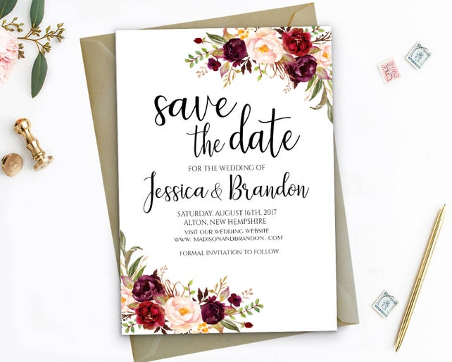 Editable Save The Dates Template Printable Save The Date Printable