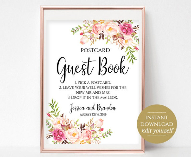 Postcard Guestbook Sign Printable Guest Book Sign Wedding Guestbook Wedding  Template PDF Instant Download 4x6, 5x7, 8x10 Pastel Blooms DIY