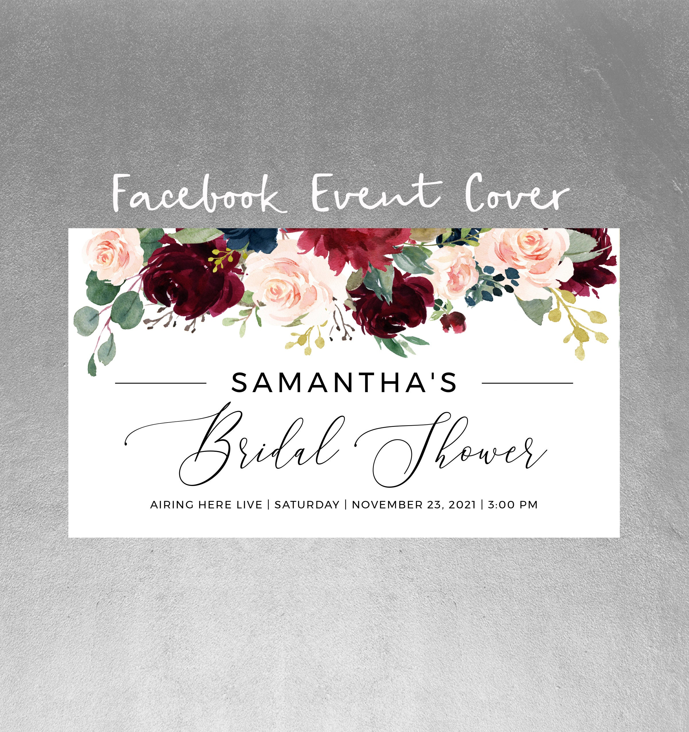 Facebook Event Cover Template, Bridal Shower Editable Facebook Banner,  Birthday, Baby Shower, Any Event, Instant Download, Templett, POM For Bridal Shower Banner Template