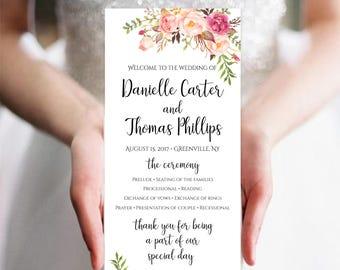 Wedding Program Template Wedding Program Printable Ceremony Printable Template Wedding Template PDF Instant Download 4x9 Pastel Blooms DIY