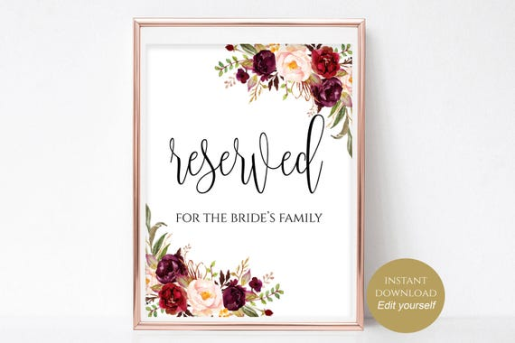 Reserved Printable Wedding Sign Table Template For Family Instant Download 4x6