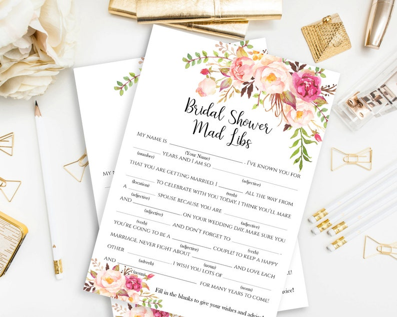 photo about Bridal Shower Mad Libs Free Printable referred to as Printable Bridal Shower Outrageous Libs Match Playing cards Bridal Shower Madlibs Tea Occasion Bridal Playing cards Bridal Shower Game Printable Recreation Pastel Blooms