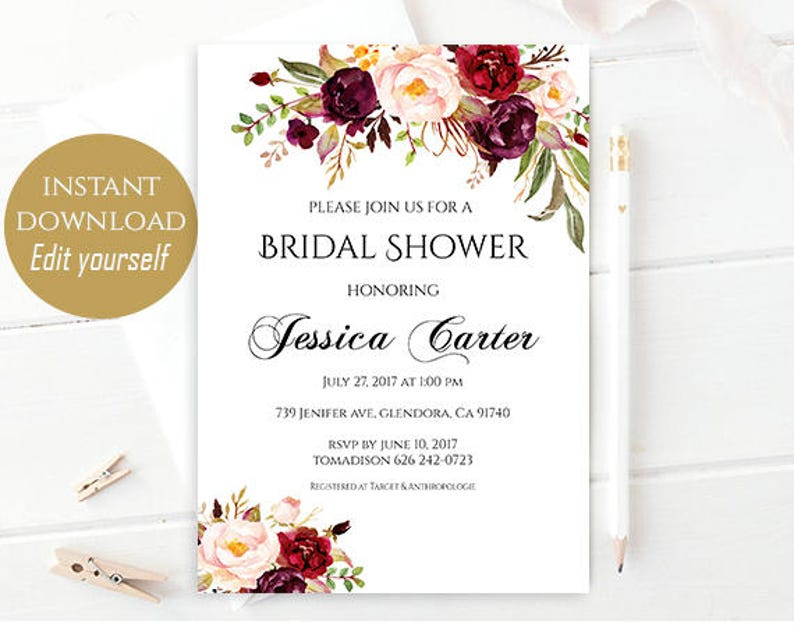 Bridal Shower Invitation Editable Template Bridal Shower Printable Floral Bridal Shower Bridal invitation Instant Download DIY Bridal Shower