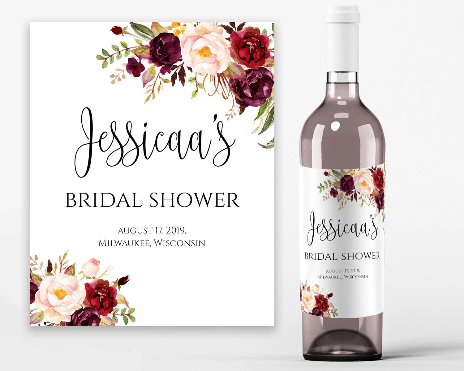 image relating to Printable Wine Labels referred to as Bridal Shower Wine Labels Bridal Wine Printable Wine Label Template Wine Bottle Labels Bridal Wine Labels PDF Prompt Obtain Boho Stylish