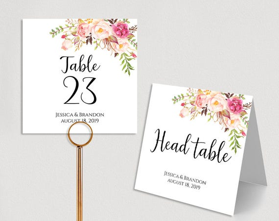 image about Printable Wedding Table Numbers known as Custom made Desk Figures Printable Wedding ceremony Desk Quantities Marriage Desk Quantity Template Folded PDF Immediate Obtain Pastel Blooms