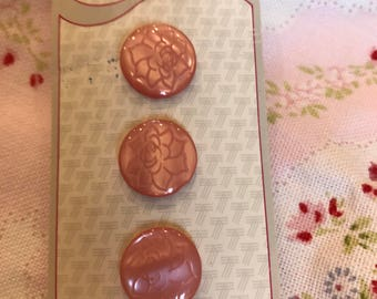 Delicate Rose coloured vintage buttons x 3