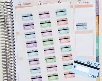 24 WRITE ON Bill Due Planner Stickers // Planner Stickers for Erin Condren, Kikki.K, etc. Pretty pastel kawaii writable credit card stickers