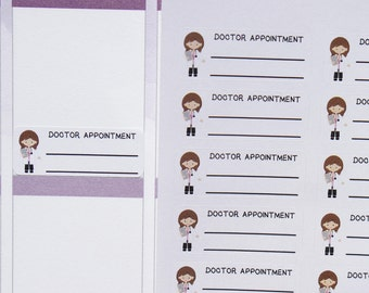 24 WRITE ON Doctor (or Dentist) Appointment Stickers // Planner Stickers for Erin Condren etc. Cute, kawaii doctor | medical | orthodontist