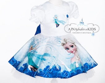 1eab82e25a1e NEW Frozen Elsa Inspired Dress - Birthday Party - Elsa Tutu - Tutu Dress -  Elsa Fancy Dress - Elsa Costume - Snowflake Dress, blue roses,