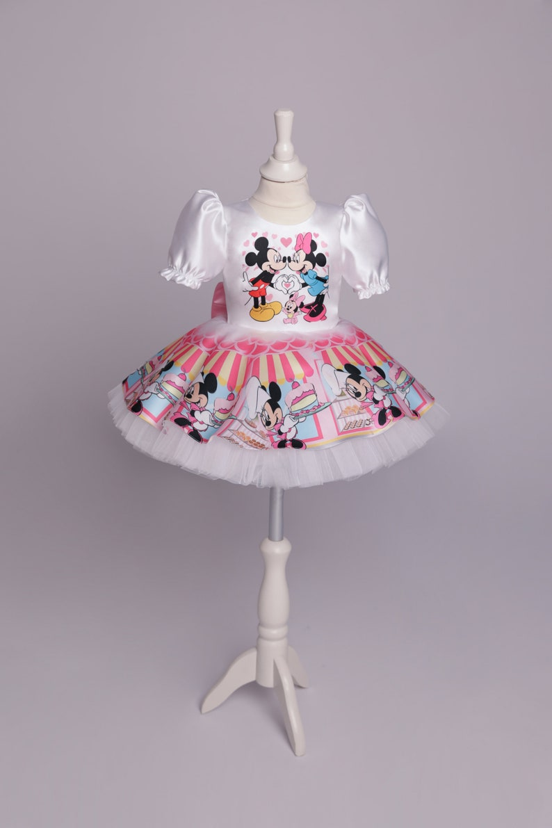 Inspired Minnie Mouse Pink Dress Minnie Mouse With Sweets Cute Birthday Dress For Little Girls