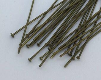 Antique brass 2 inch head pins